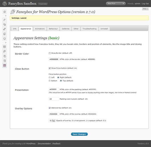 """Einstellungsmenü """"FancyBox for WordPress"""""""